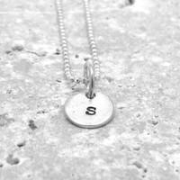 Tiny Initial Necklace, Letter s Pendant, Personalized Necklace, Letter s Necklace, Initial Pendant, Sterling Silver Jewelry