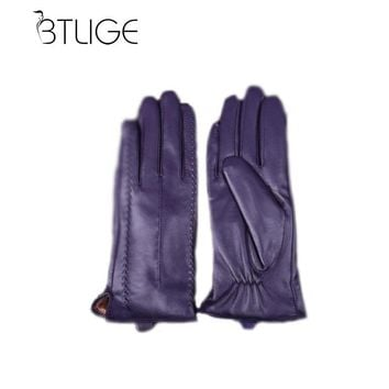 BTLIGE Women Winter Sheepskin Pure Genuine Leather Gloves Wrist Fleece Lined Ladies Solid Elegant High Quality Mittens