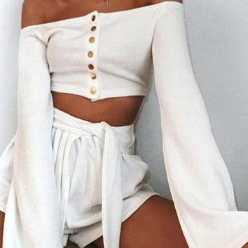 Off The Shoulder Knit Crop Top