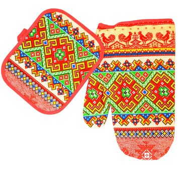 Kitchen set of mitten and a potholder. Pivnyk