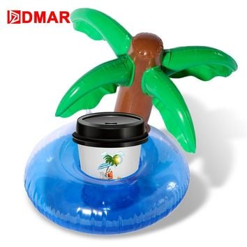 DMAR 3pcs Mini Inflatable Coconut Tree Drink Float Pool Toy Cup Holder Fun Swimming Ring Inflatable Mattress Beach Party Unicorn