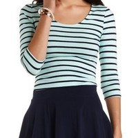 Three-Quarter Sleeve Striped Crop Top - Turquoise Combo