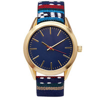 Southwestern-Embroidered Strap Watch