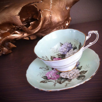 1950s Antique Paragon tea cup and saucer, floral tea set, green bone china teacup, lily tea set