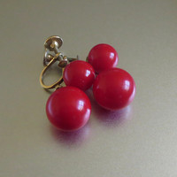 Vintage Red Earrings, Graduated Acrylic Plastic Beads & Gold Tone Metal Drops, Mod!