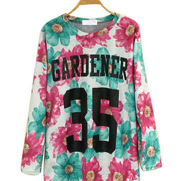 Pink And Green Floral Long-Sleeve Top