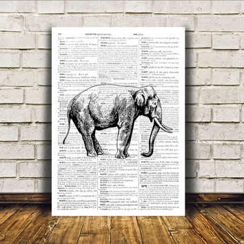 Animal art Dictionary print Wall decor Elephant poster RTA405