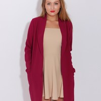 LOVE Wine Long Jacket With Pockets