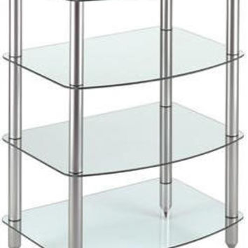 4 Shelf Glass & Steel Audio Rack