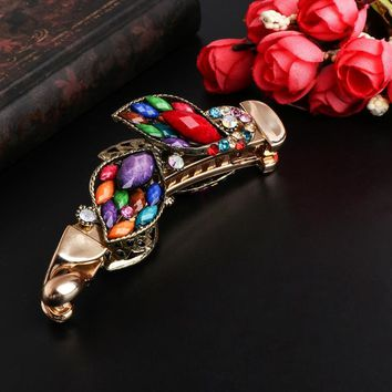 Vintage Colorful Crystal Rhinestone Banana Hair Clip Headdress Hairpin Accessory