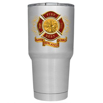 Red Gold Fire Department Badge on Stainless 30 oz Tumbler