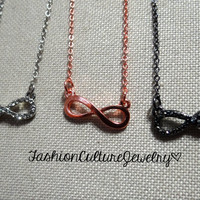 FashionCultureJewelry — Infinity Necklace in Rose Gold-Silver-Gun metal