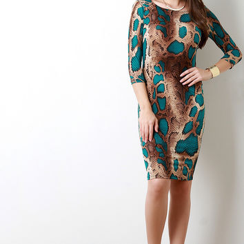 Two Tone Snake Print Bodycon Dress