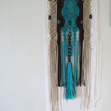 "Macrame Wall Hanging, 18"" x 42"", 6mm cord, Wood beads, white, pearl, turquoise, & brown, tribal, home decor, wall decor, 70s, Hippy, Hippie"