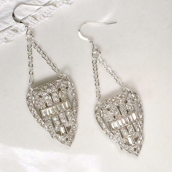 OOAK 1920s Art Deco Clear Rhinestone Flapper Dangle Earrings, Sterling Silver Vintage Pave Dress Clip Long Drop Bridal Statement Earrings