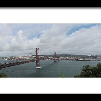 25 De Abril Bridge Framed Print