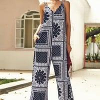 Summer fashion new women's sling prints jumpsuit bohemian casual trousers