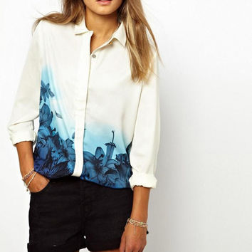 Women Shirt Summer Style Lapel Collar Floral Print Loose Chiffon Long Sleeve T-Shirt Top PE1431*50