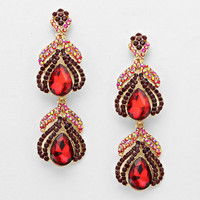 Evening Double Drop Crystal Earrings RED