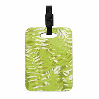 "Jacqueline Milton ""Fun Fern - Green"" Green Floral Decorative Luggage Tag"