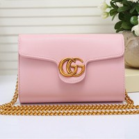 """Gucci"" Women Simple Fashion Double G Metal Chain Single Shoulder Messenger Bag Flip Small Square Bag"