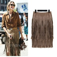 Hitz Winter Fashion 2016 Fringed Suede High Waist Soild Color Skirt Women Tassel Leather Skirts Womens Faldas Plus Size S-XXL