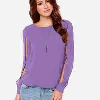 Cut-Out Long Sleeve Casual Blouse