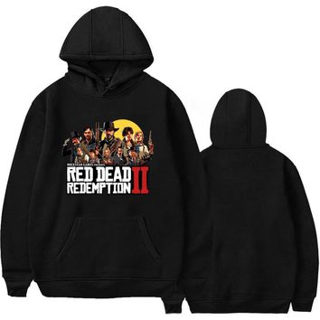 2018 New Arrivals Red Dead Redemption 2 Men Sweatshirts Hip Hop Fleece Loose Print Black Hoodies