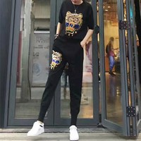 """""""Kenzo"""" Women Casual Fashion Knit  Letter Tiger Head Embroidery Middle Sleeve Trousers Set Two-Piece Sportswear"""