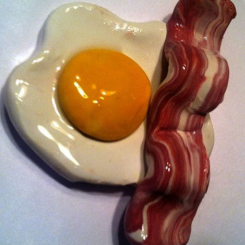 Bacon and Egg Magnet, Polymer Clay Magnet, Miniature Food