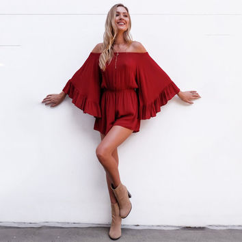Sexy Off Shoulder Ruffle  Rompers Womens Jumpsuit