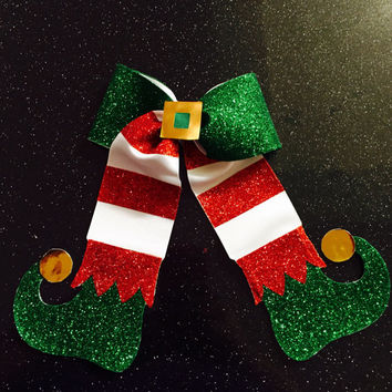Elf red, white, green and gold Christmas cheer bow