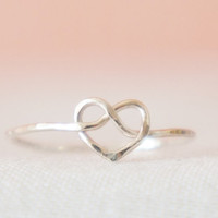Hammered Sterling Silver Love knot stack skinny ring- made to order- modern minimalist jewelry for everyday by noa noa