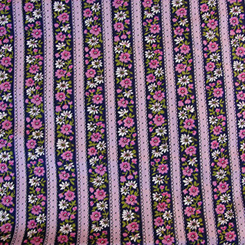 "1960s Fabric Purple Stripe Cotton Fabric Pink Floral print with Lavender and Navy Stripes 36"" wide"