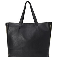 FOREVER 21 Zippered Faux Leather Tote Black One