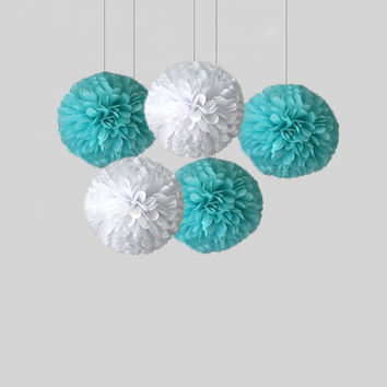 "Tiffany blue set of tissue paper pom poms 18""  // diy wedding // wedding decor // birthday // reception // frozen decor"
