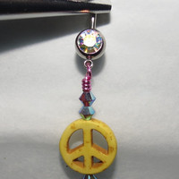 Iridescent Belly Ring with Yellow Peace Sign, Pink Wrap and Swarovski Crystals