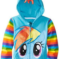 My Little Pony Little Girls' Rainbow Dash Hoodie, Blue/Multi, 5/6