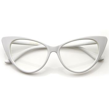 Super Cat Eye Glasses Vintage Inspired Mod Fashion Clear Lens Eyewear (White)