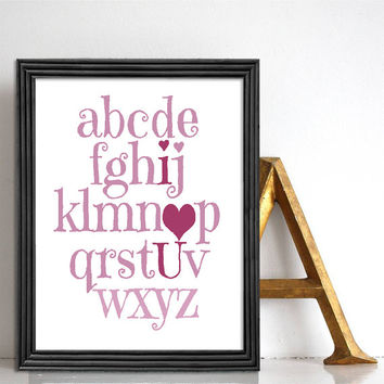 Alphabet poster print I love you alphabet art Princess pink Baby girl nursery decor Giclee art print Typographic poster Nursery alphabet