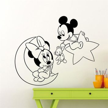 Mickey Mouse Minnie Mouse Moon Star Wall Decal Nursery Cartoon Wall Sticker Home Decor Baby Room Art Vinyl Sticker