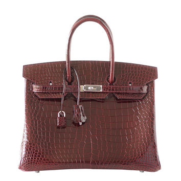 HERMES BIRKIN 35 Porosus Crocodile BORDEAUX Red Palladium Hardware