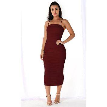 Heart Throb Burgundy Stretchy Sleeveless Spaghetti Strap Ruched Bodycon Midi Maxi Dress