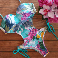 Sexy  Women's Floral Print One Piece Hollow Swimwear Bikini Set BK019