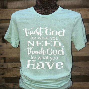 Southern Chics Apparel Trust God Thank God Christian Canvas Girlie Bright T Shirt
