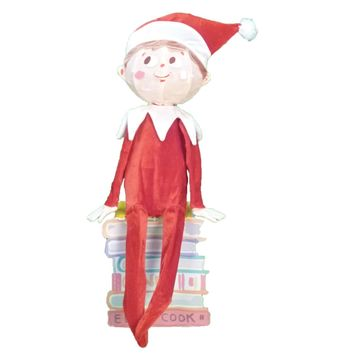 "32"" Pre-Lit Elf on the Shelf 3-D Sitting Elf Christmas Yard Art Decoration - Clear Lights"
