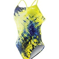 Nike Swim Fractured Tie Dye Cut Out Tank at SwimOutlet.com - Free Shipping