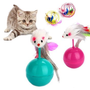 2Pcs Cat Teaser Toy Catnip False Mouse in Rat Cage Ball Cat Feather Toy Mice Ball Funny Playing Interactive Toys For Kitten