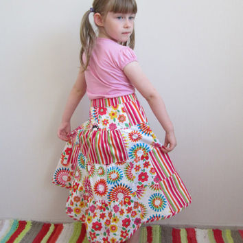 Girls Patchwork Skirt, Romantic Skirt, Unique Summer Skirt, Colorful Pink Skirt, Girls Maxi Skirt, Toddlers Birthday Skirt, Handmade Skirt
