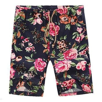 Good Quality Summer 6 Colors Men 2xl-5xl Flower Print Linen Beach Big Size Casual Floral Shorts Beach Shorts , Gx2384
